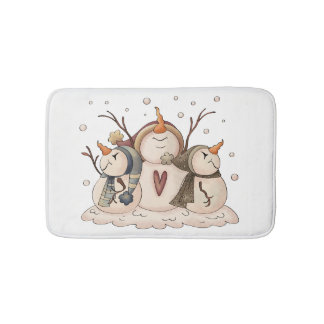 Christmas Snowman Rustic Country Primitive Winter Bath Mat