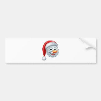 Christmas Snowman Santa Hat Emoji Bumper Sticker