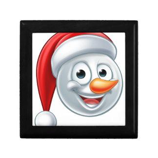Christmas Snowman Santa Hat Emoji Small Square Gift Box