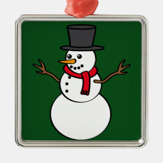 Christmas Snowman Silver-Colored Square Decoration