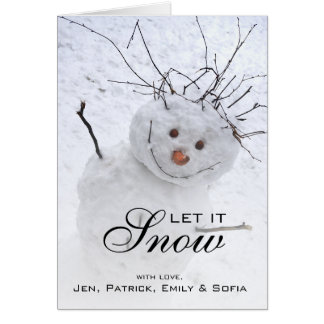 Christmas Snowman Sitting In A Snowy Outdoors Card