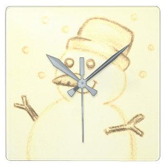 Christmas snowman square wall clock
