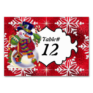 Christmas Snowman Table Number card