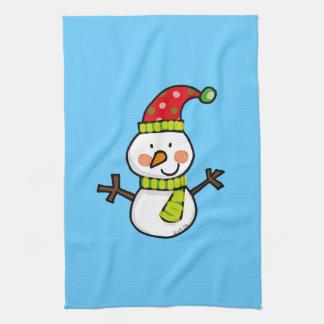 Christmas snowman tea towel