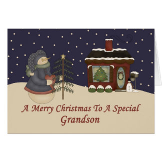 Christmas Snowman To A Special Grandson Card