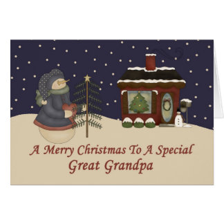 Christmas Snowman To A Special Great Grandpa Greeting Card