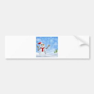 Christmas Snowman winter landscape Bumper Stickers