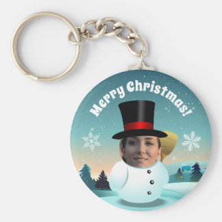 Christmas Snowman With Any Face You Like Key Ring