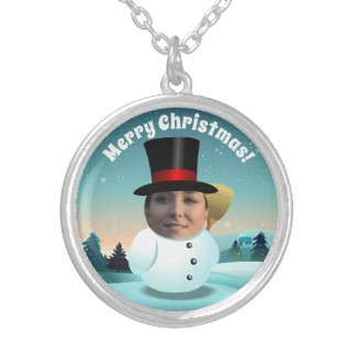 Christmas Snowman With Any Face You Want Silver Plated Necklace