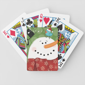 Christmas Snowman with Bird Bicycle Playing Cards
