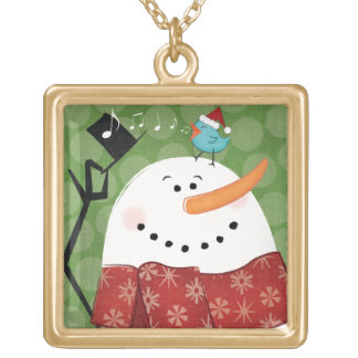 Christmas Snowman with Bird Gold Plated Necklace