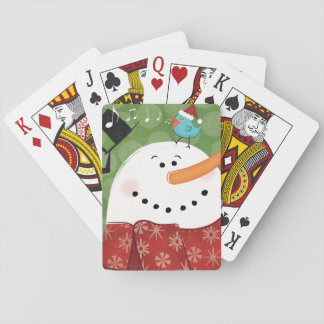 Christmas Snowman with Bird Poker Deck
