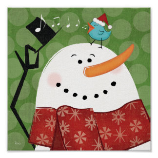 Christmas Snowman with Bird Poster