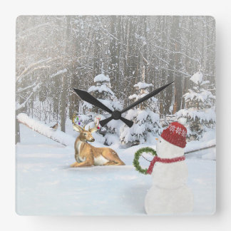 Christmas snowman with deer in winter woods square wall clock