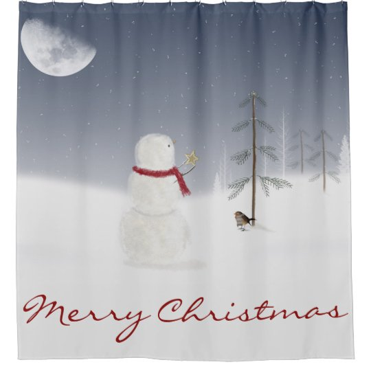 Christmas snowman with gold star and moon shower