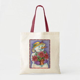 Christmas Snowman with Poinsettia and Wearing Hat Tote Bags