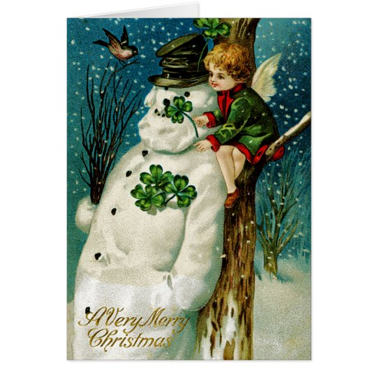 Christmas Snowman with Shamrocks Card