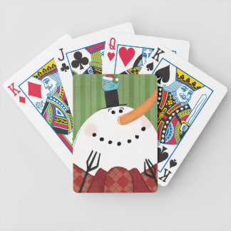 Christmas Snowman with Singing Bird Bicycle Playing Cards