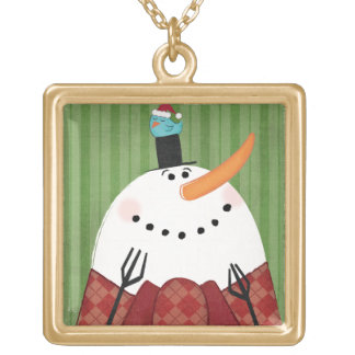 Christmas Snowman with Singing Bird Gold Plated Necklace