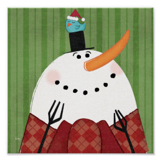 Christmas Snowman with Singing Bird Poster
