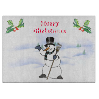 Christmas Snowman with tophat and scarf Cutting Boards