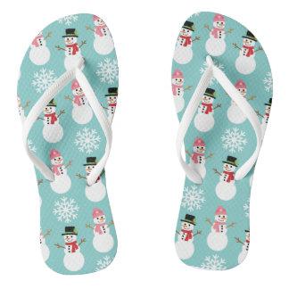 Christmas Snowmen Flip Flops