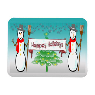 Christmas - Snowmen, Happy Holidays Premium Magnet