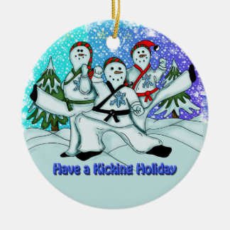 Christmas Snowmen Martial Arts Ornament