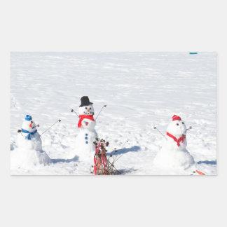 Christmas Snowmen Rectangular Sticker
