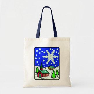 Christmas Snowy Church Scene Bag