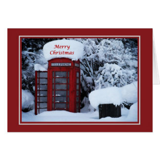 Christmas Snowy English Phone Box Card