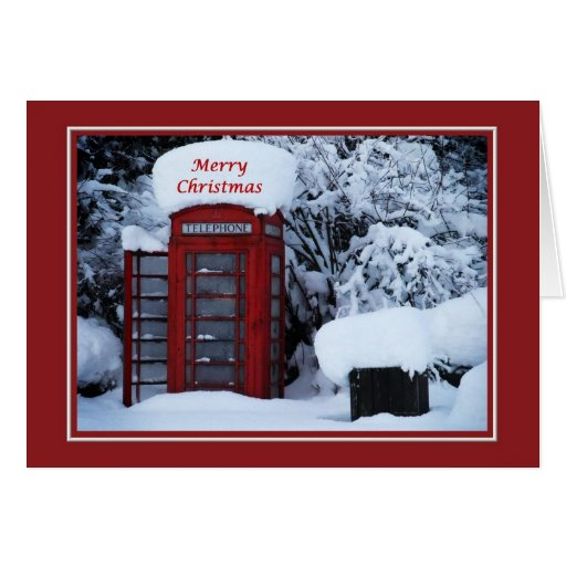 Christmas Snowy English Phone Box Card