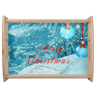 Christmas Snowy Mountain Winter Village Serving Platter