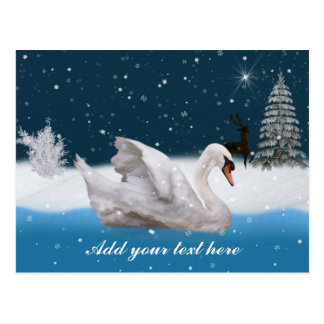 Christmas Snowy Night with A Swan Customizable Postcard