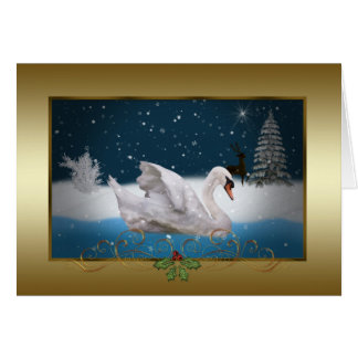 Christmas, Snowy Night with A Swan on a Lake Greeting Card