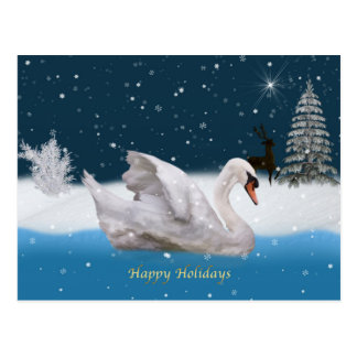 Christmas, Snowy Night with A Swan on a Lake Postcard