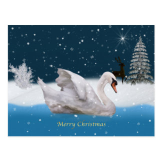 Christmas Snowy Night with A Swan on a Lake Post Cards