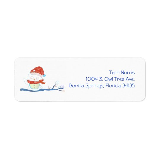 Christmas Snowy Owl Cute Holiday Address Labels