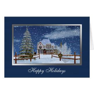 Christmas, Snowy Winter Scene, Customizable Text Greeting Card