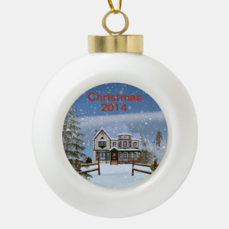Christmas, Snowy Winter Scene, Removable 2014 Ceramic Ball Decoration