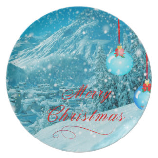 Christmas Snowy Winter Village Party Plate