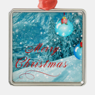 Christmas Snowy Winter Village Silver-Colored Square Decoration