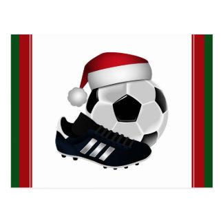 Christmas Soccer Ball and Shoe Postcard