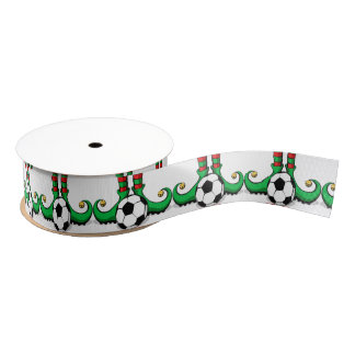 Christmas Soccer Elf Feet Grosgrain Ribbon