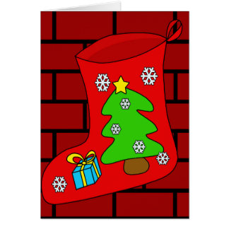 Christmas sock 2 greeting card