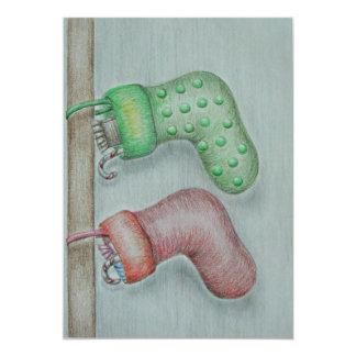 Christmas Socks 13 Cm X 18 Cm Invitation Card