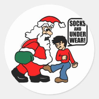 CHRISTMAS SOCKS AND UNDERWEAR ROUND STICKER