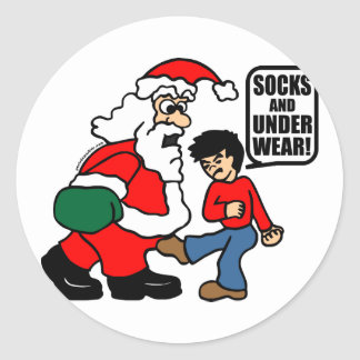 CHRISTMAS SOCKS AND UNDERWEAR CLASSIC ROUND STICKER
