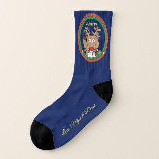 "Christmas Socks ""ReindeerLights"" Personalize 1"