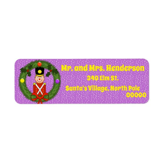 Christmas Soldier in Wreath Return Address Labels